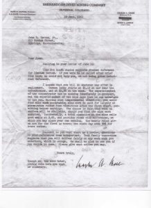 Letter from Charles Chase 1951